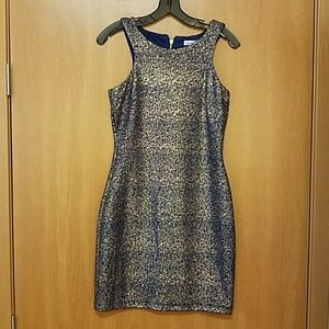 Navy and gold racer back dress sz 9